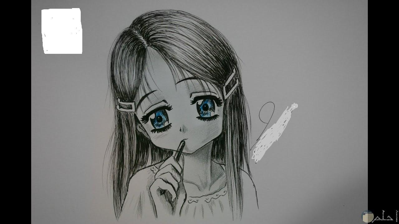 رسمةبالرصاص لبنت انمي جميلة.