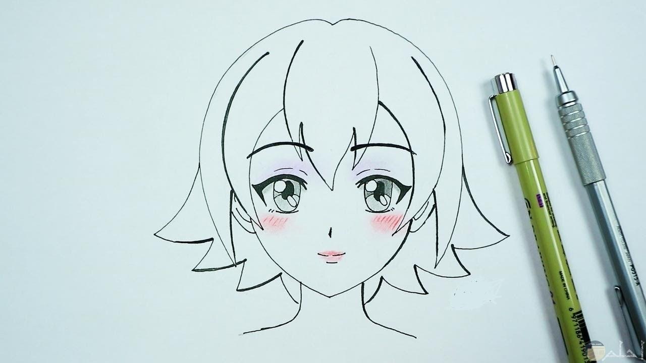 رسمة انمي بنت غير ملونة مرسومة باليد.