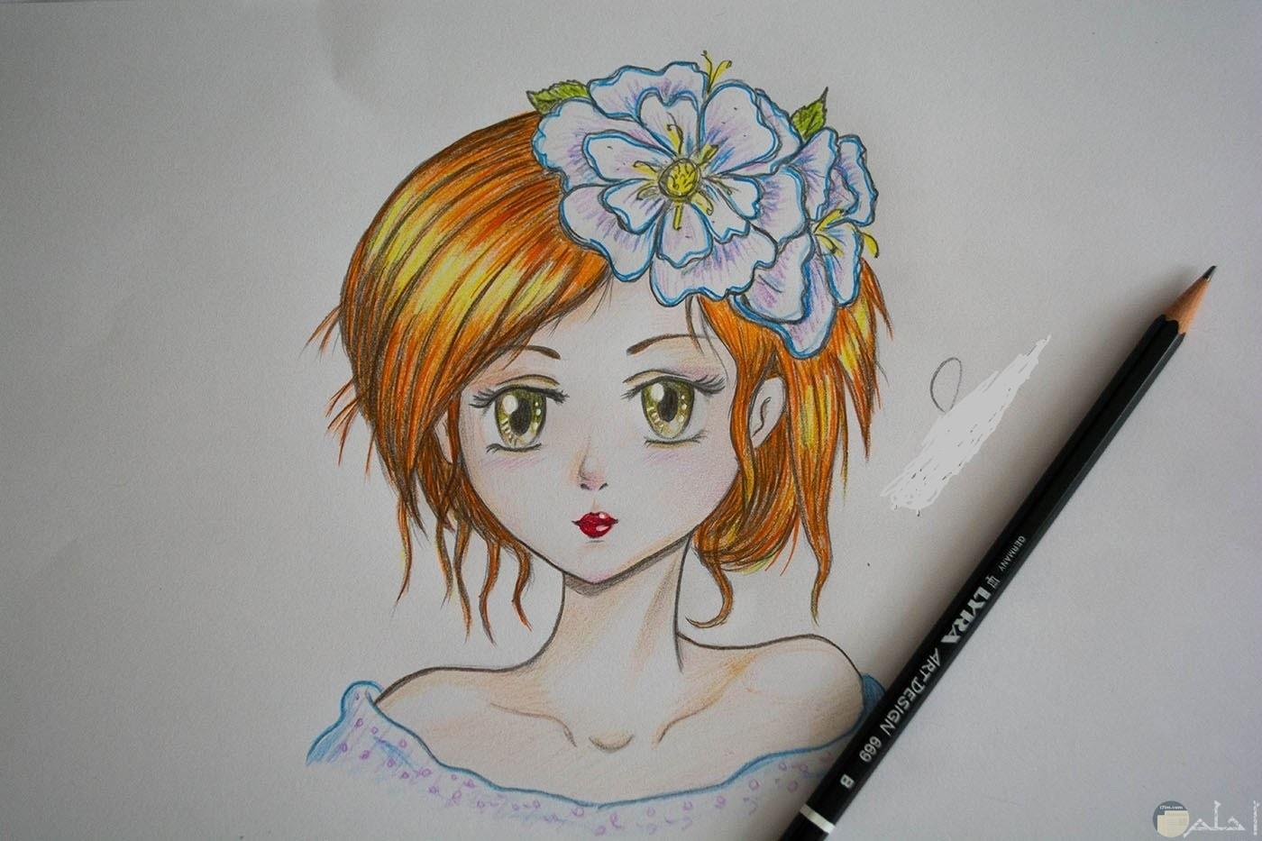 رسمة لبنت انمي ملونة ظاهر الرأس و أعلى الجسد فقط.