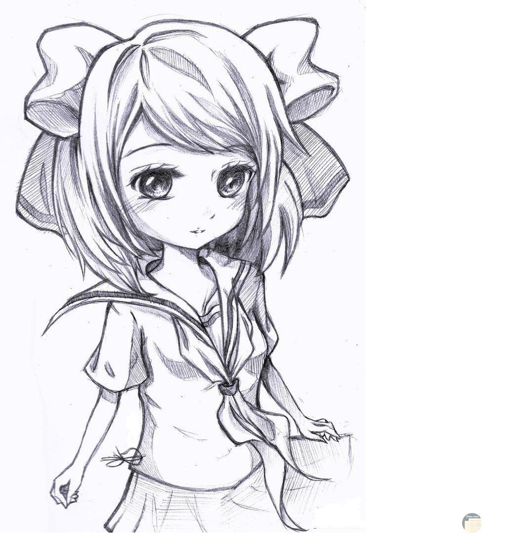 رسمة بنت انمي غير ملونة.