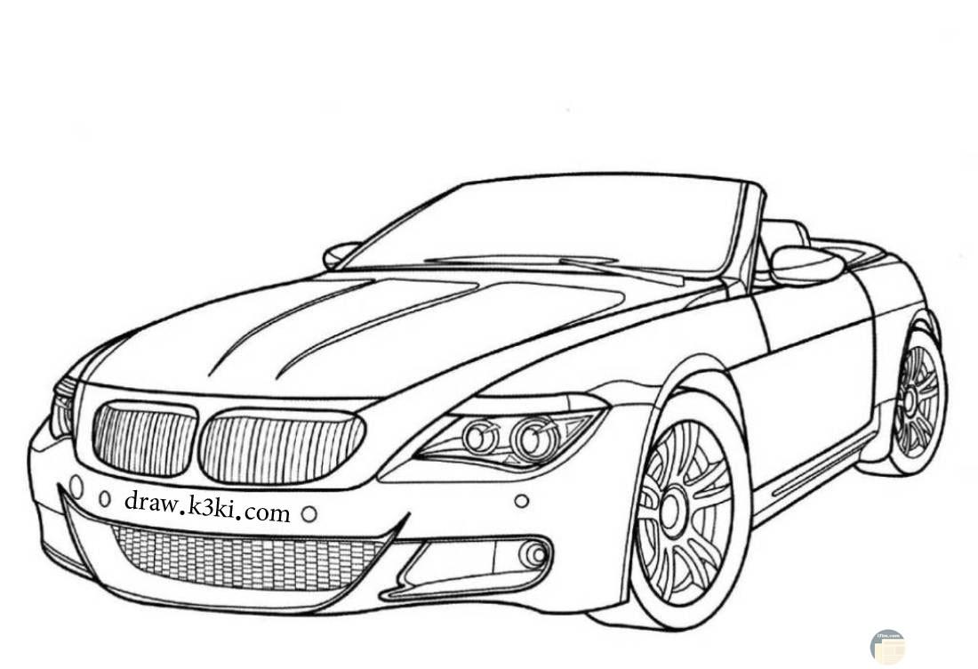 رسمة سيارة جاهزة للتلوين