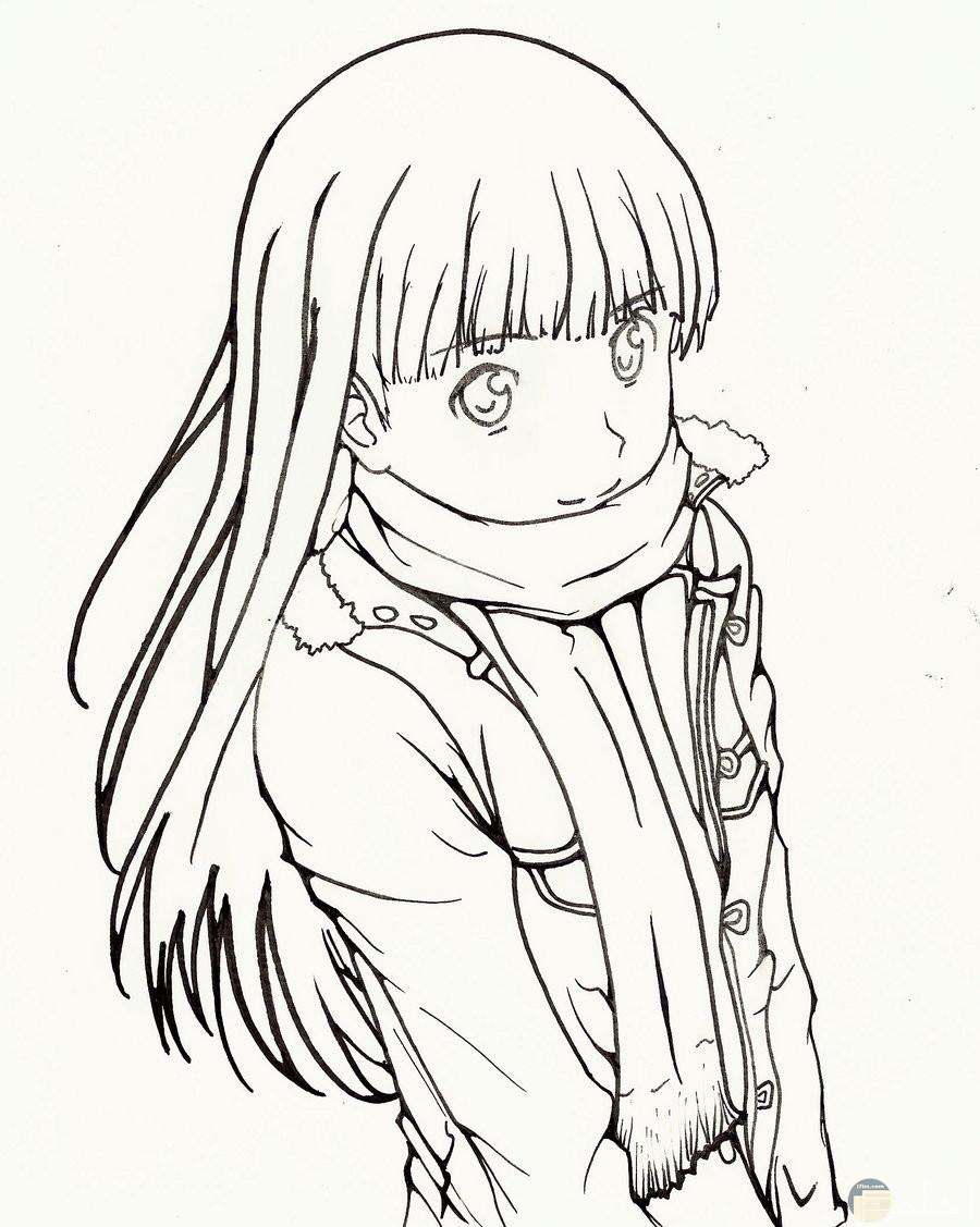 رسمة الانمي للتلوين لبنت ترتدي وشاح.