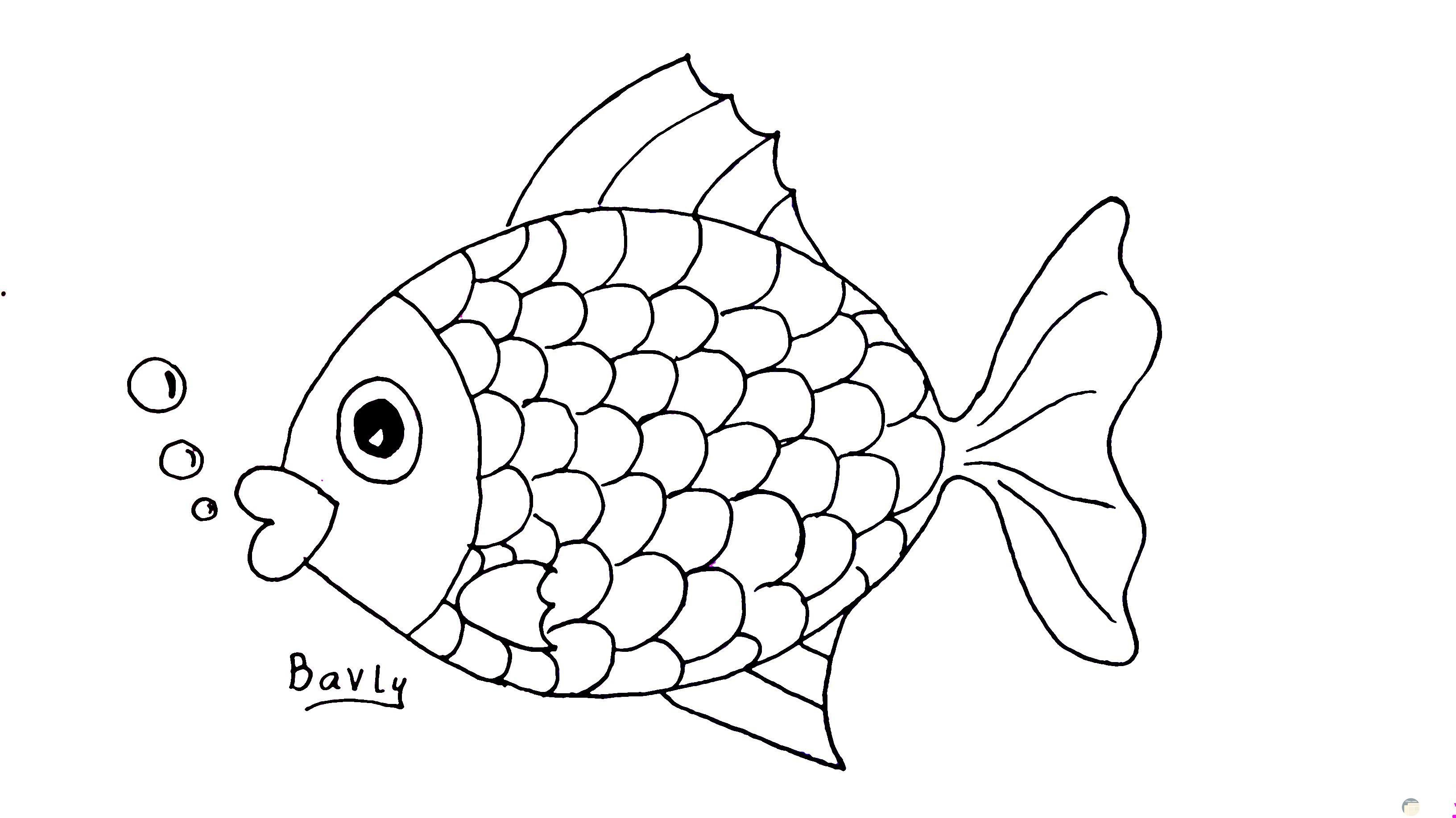 رسمة سمكة للأطفال سهلة وبسيطة