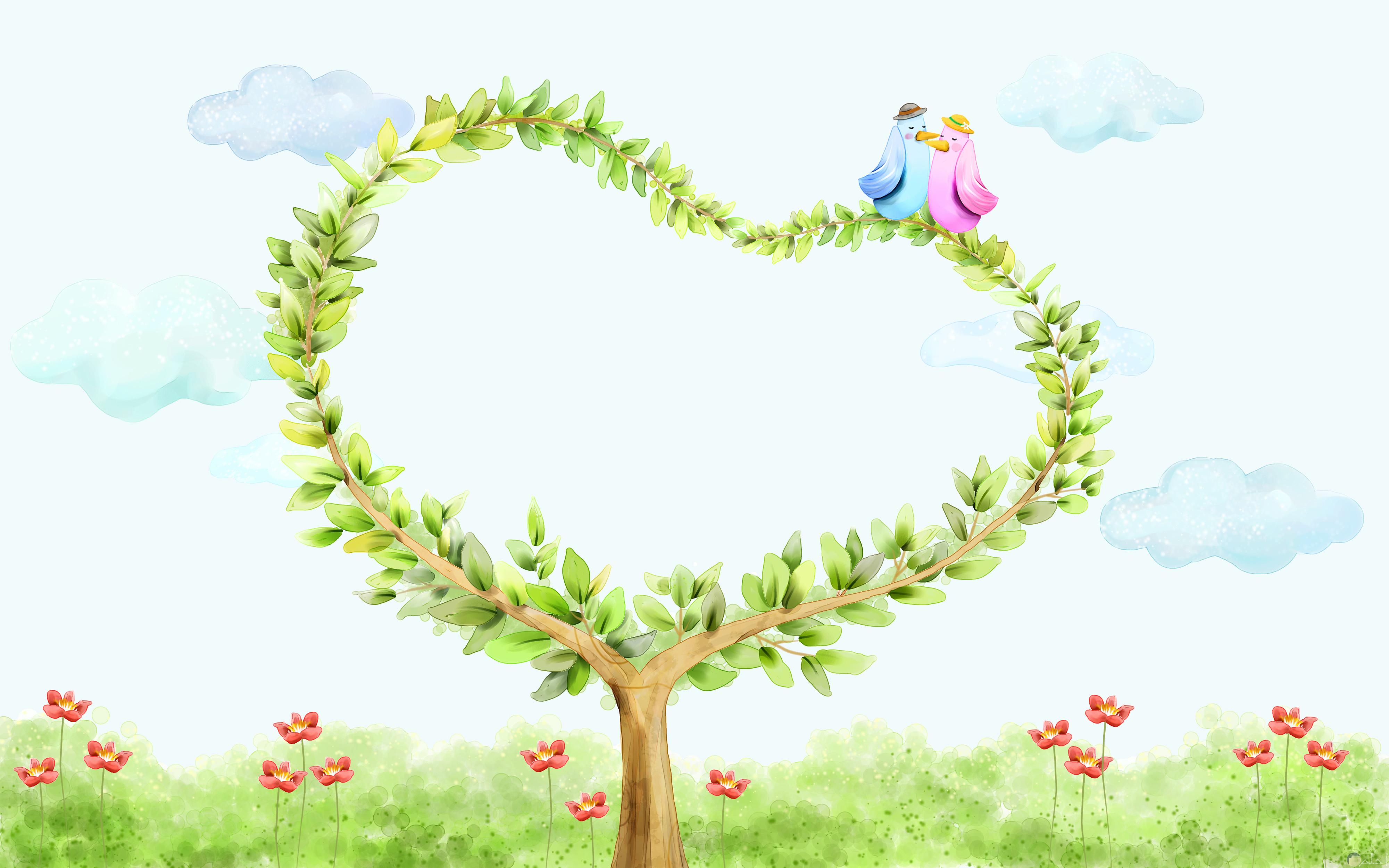 قلب اخضر مرسوم في صورة كرتونية جميلة ورومانسية
