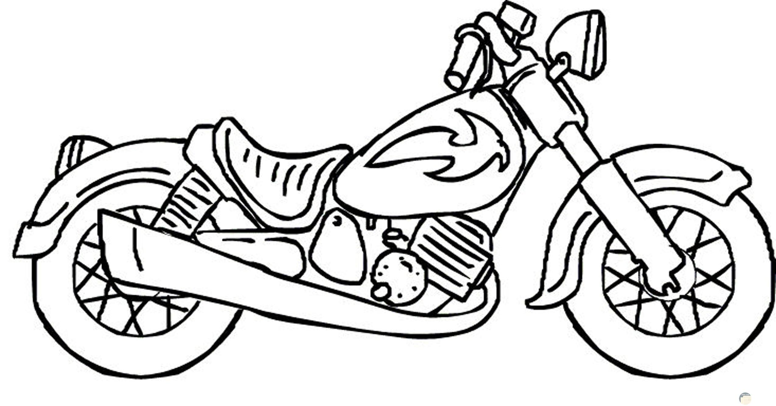 رسمة موتوسيكل بالأبيض والأسود للتلوين