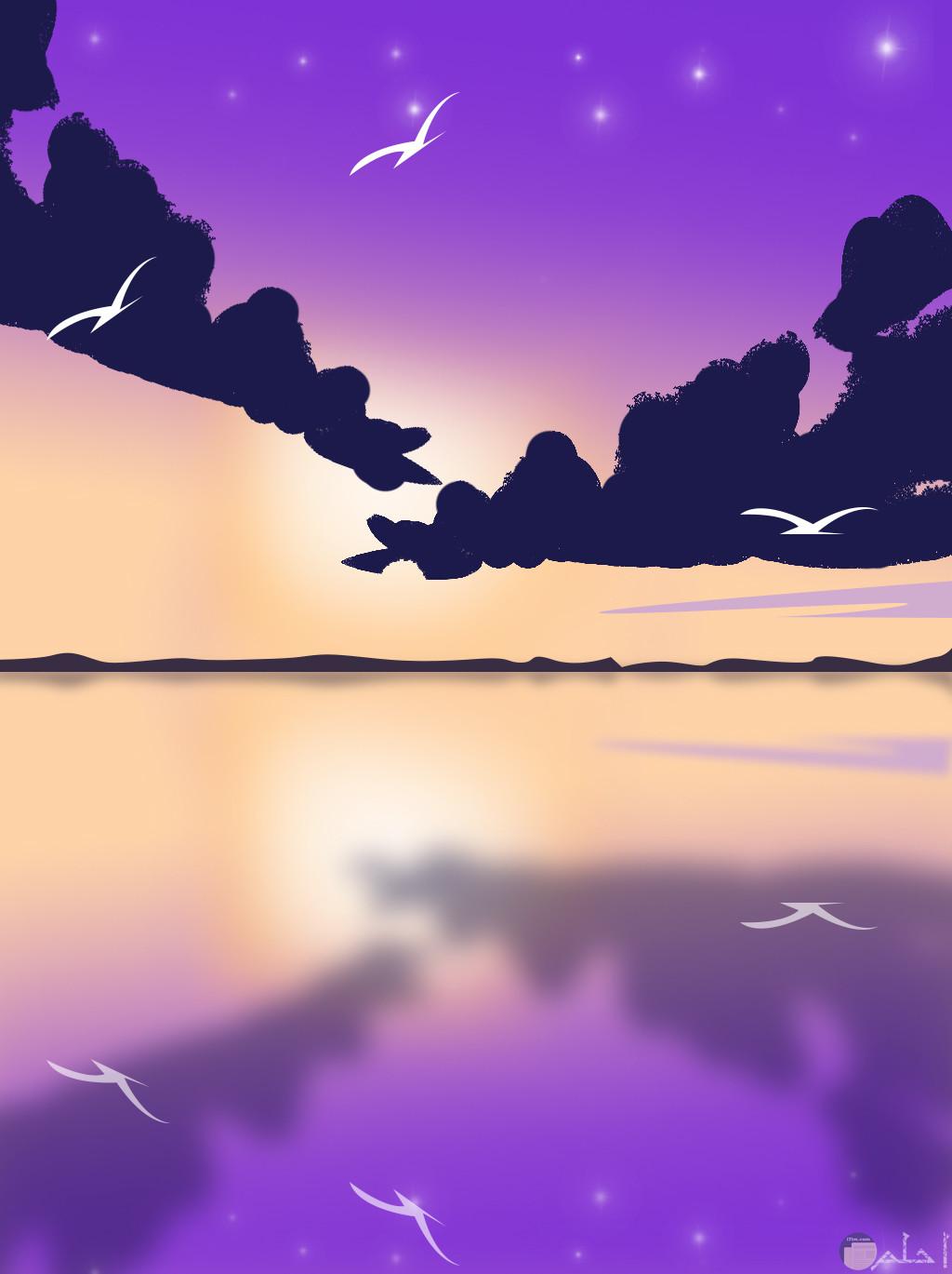 السماء و الغيوم باللون البنفسجي.