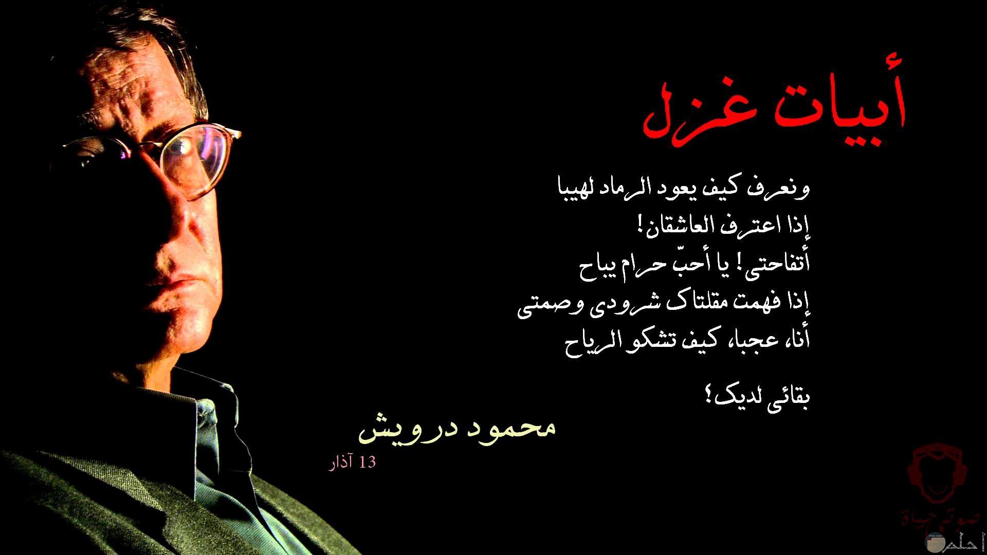 أجمل أبيات الغزل للشاعر محمود درويش.
