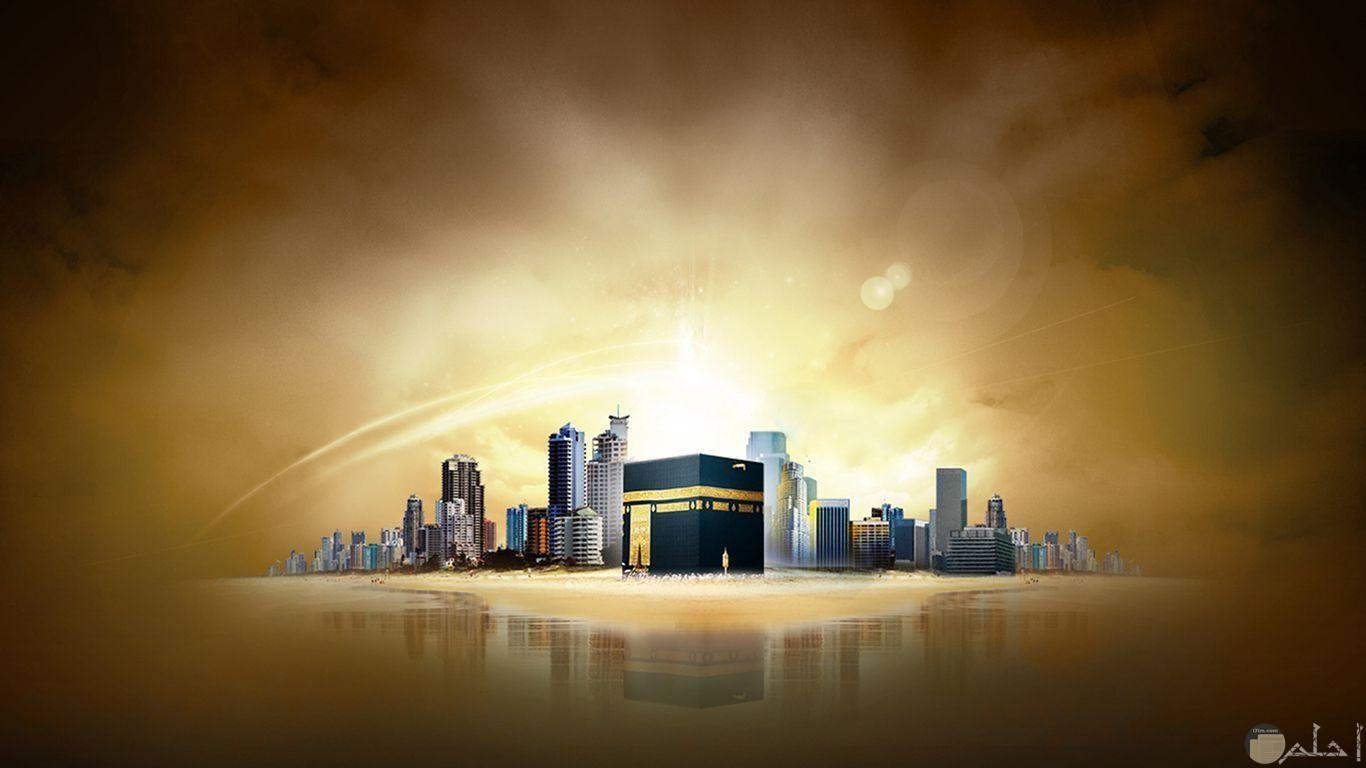 خلفية للكعبة الشريفة و مباني مكة المكرمة.