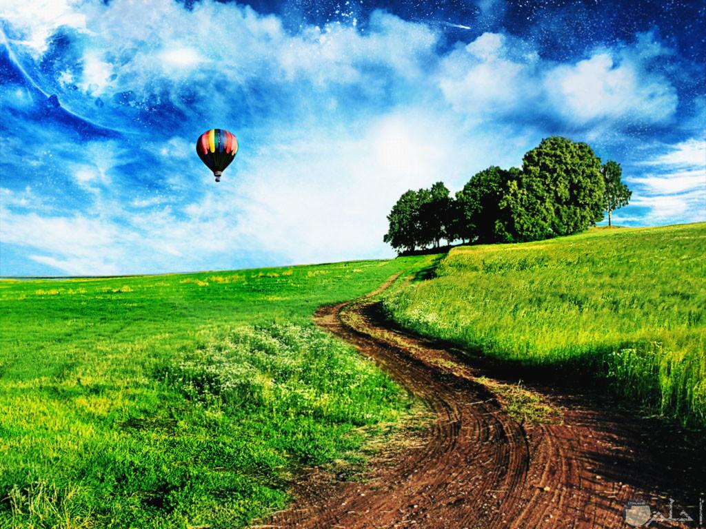 جمال الأراضي الخضراء مع منطاد طائر في السماء.