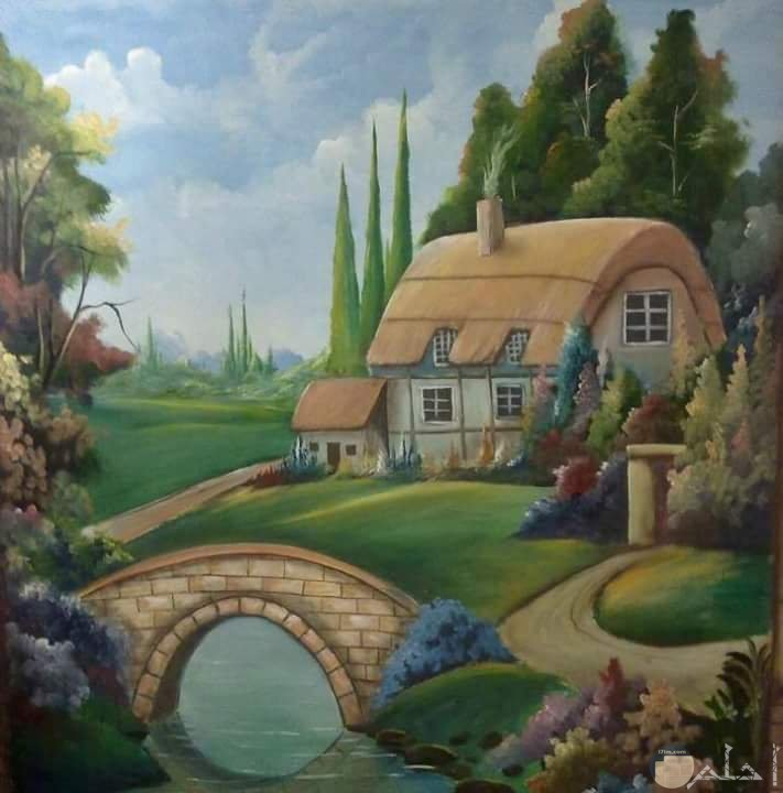 منزل بسيط وسط الطبيعة مرسوم