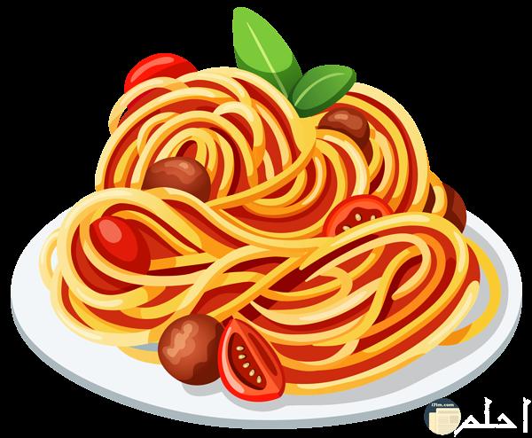 طبق مصمم به مكرونه وبها طماطم قطع ولحمه