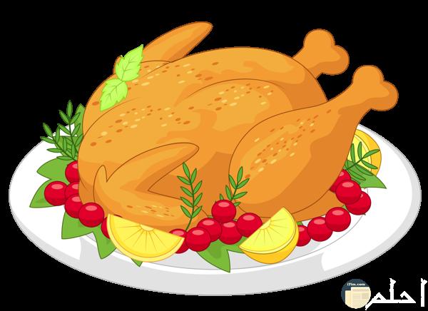 دجاجه على طبق محاط بها القليل من الطماطم الصغيرة جدا وليمون مقطع وخضار