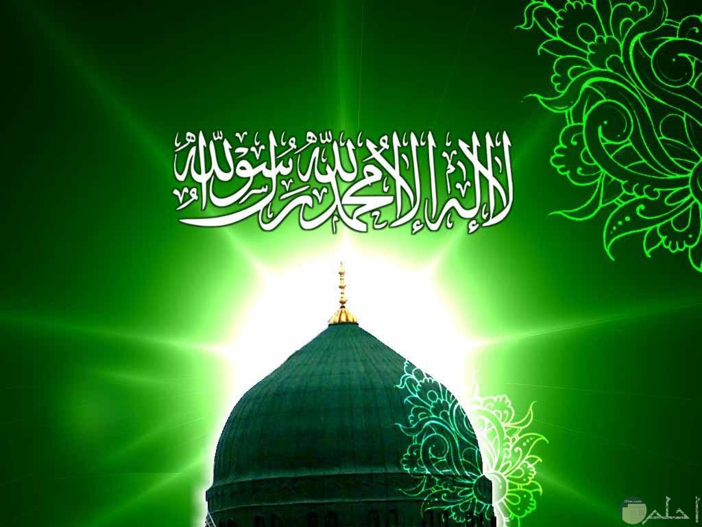 لاله الا الله محمد رسول الله عبارة مكتوبه على خلفية قبة مسجد