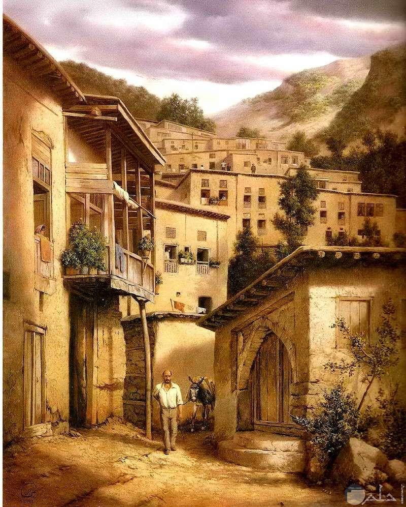 رسومات لبيوت لها طابع عربي.