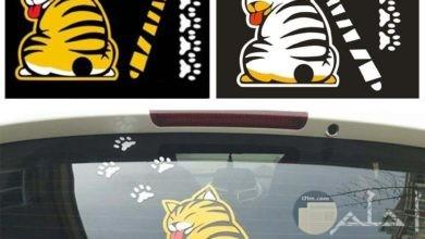 إستيكر لمساحة الزجاج بالسيارة على شكل قطة و لها ذيل يلصق على المساحة نفسها.