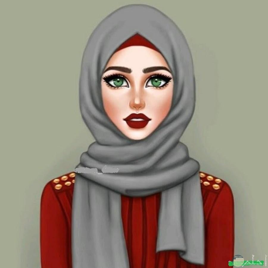 رسمة لوجه فتاة محجبة جميلة.