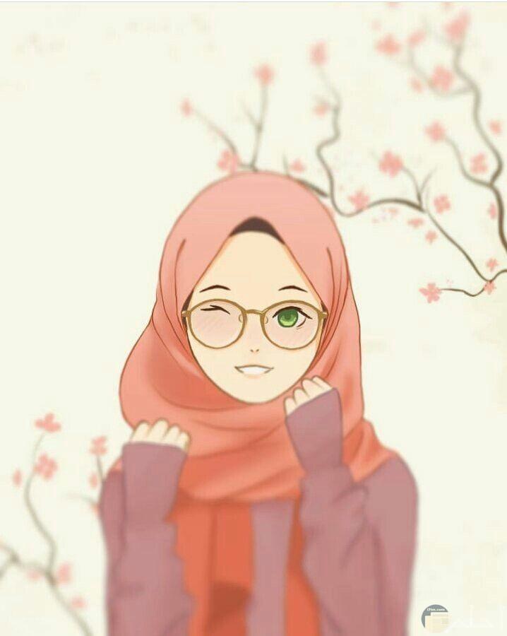 لكل فتاة ترتدي نظارة، رسمة بنت محجبة ترتدي نظارة.