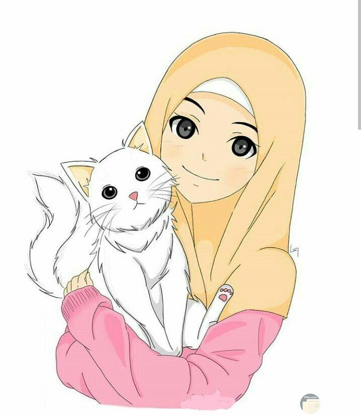 لعشاق القطط رسمة بنت محجبة تمسك قطة.