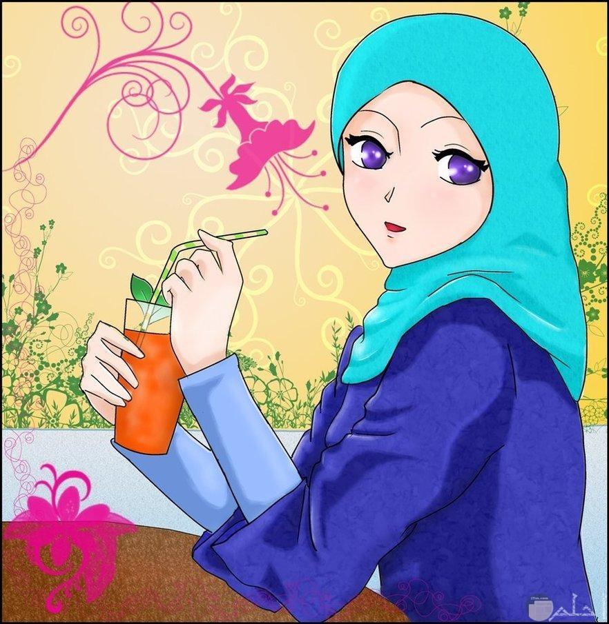 أجمل رسمة لبنت محجبة مع خلفية و مشهد جميل.