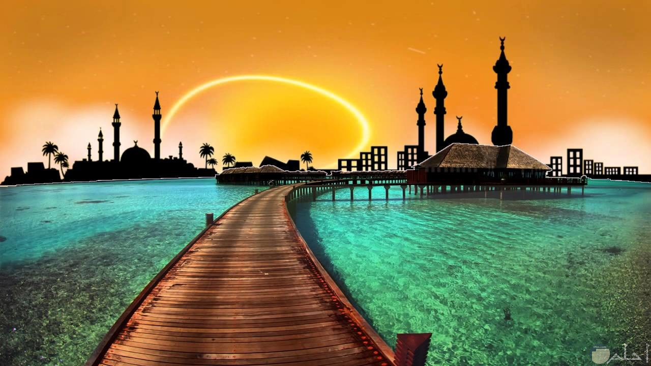 منظر للمساجد مع غروب الشمس روعة.