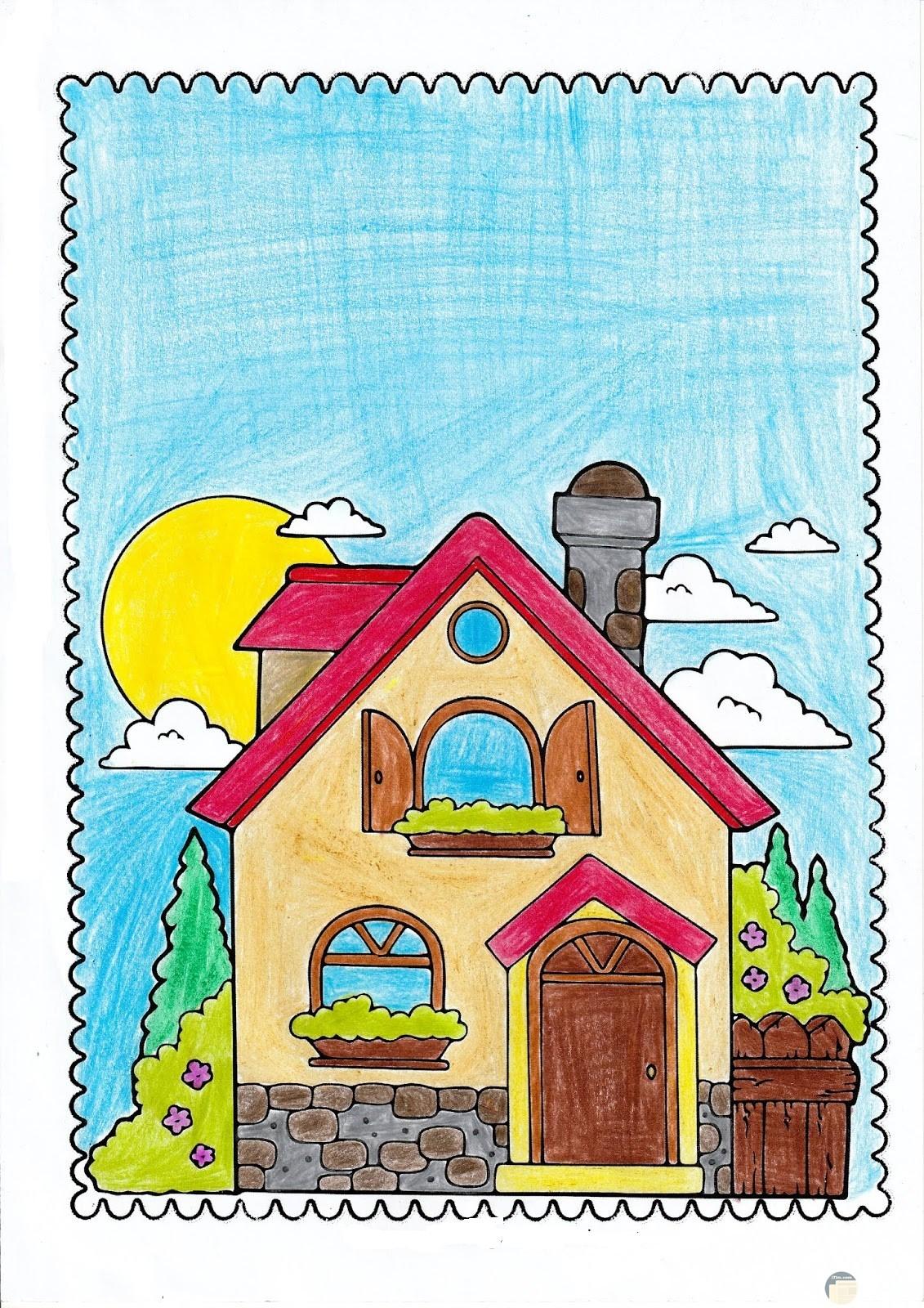 رسمة منزل ملون مع سماء صافية.