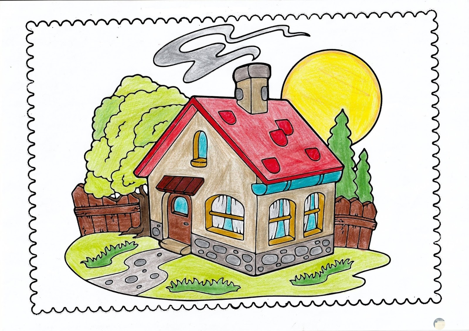 رسمة منزل له حديقة ملونة.