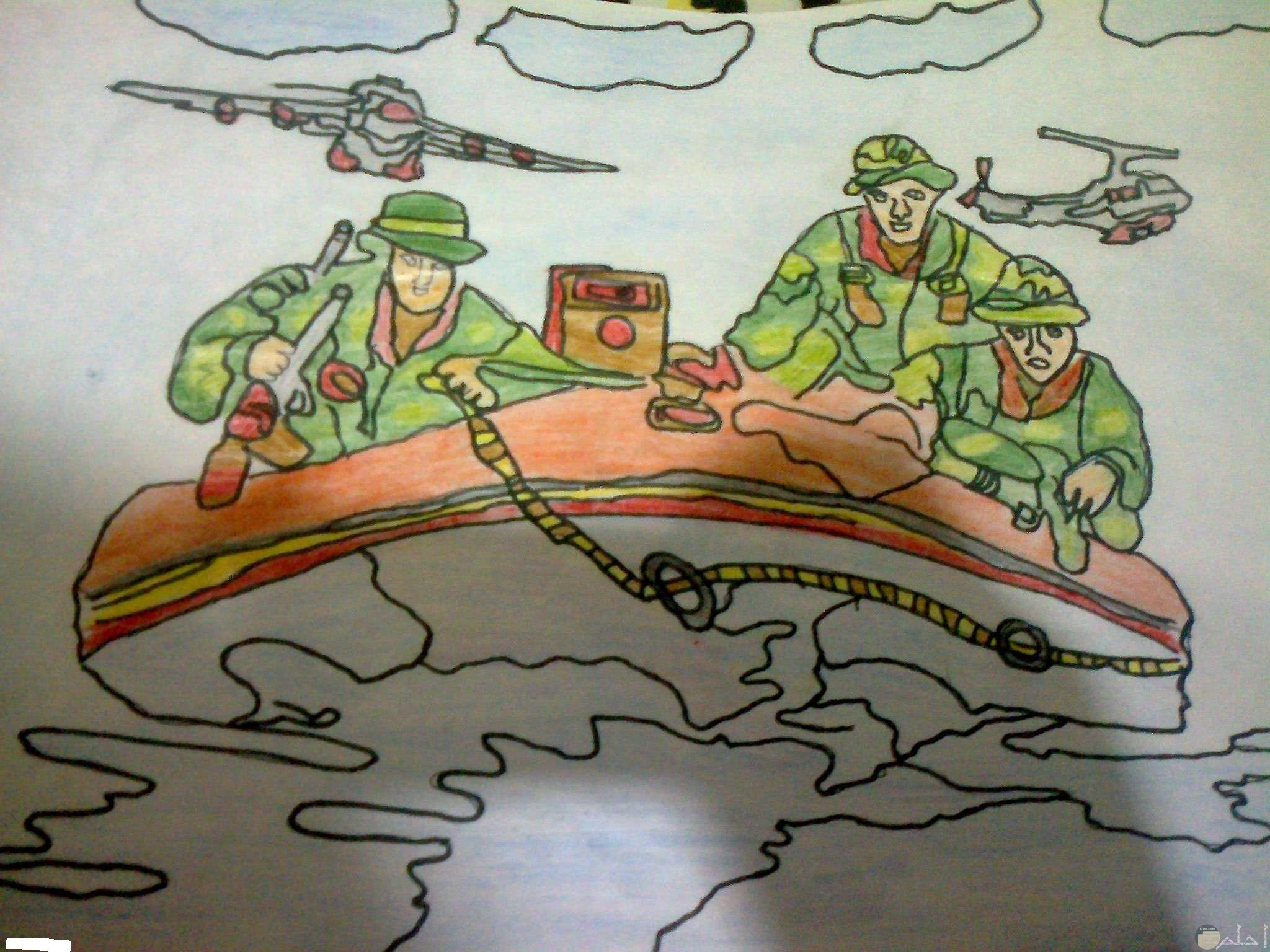 رسمة ملونة لجنود يركبون قارب و يعبرون به القناة و الطائرات تحلق فوقهم.