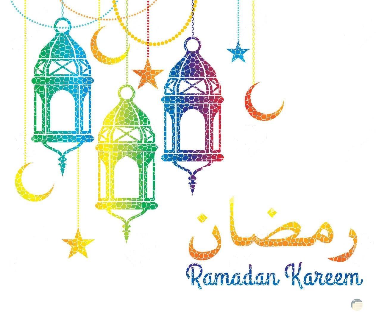 فوانيس مرسومة و ملون مع عبارة رمضان كريم.