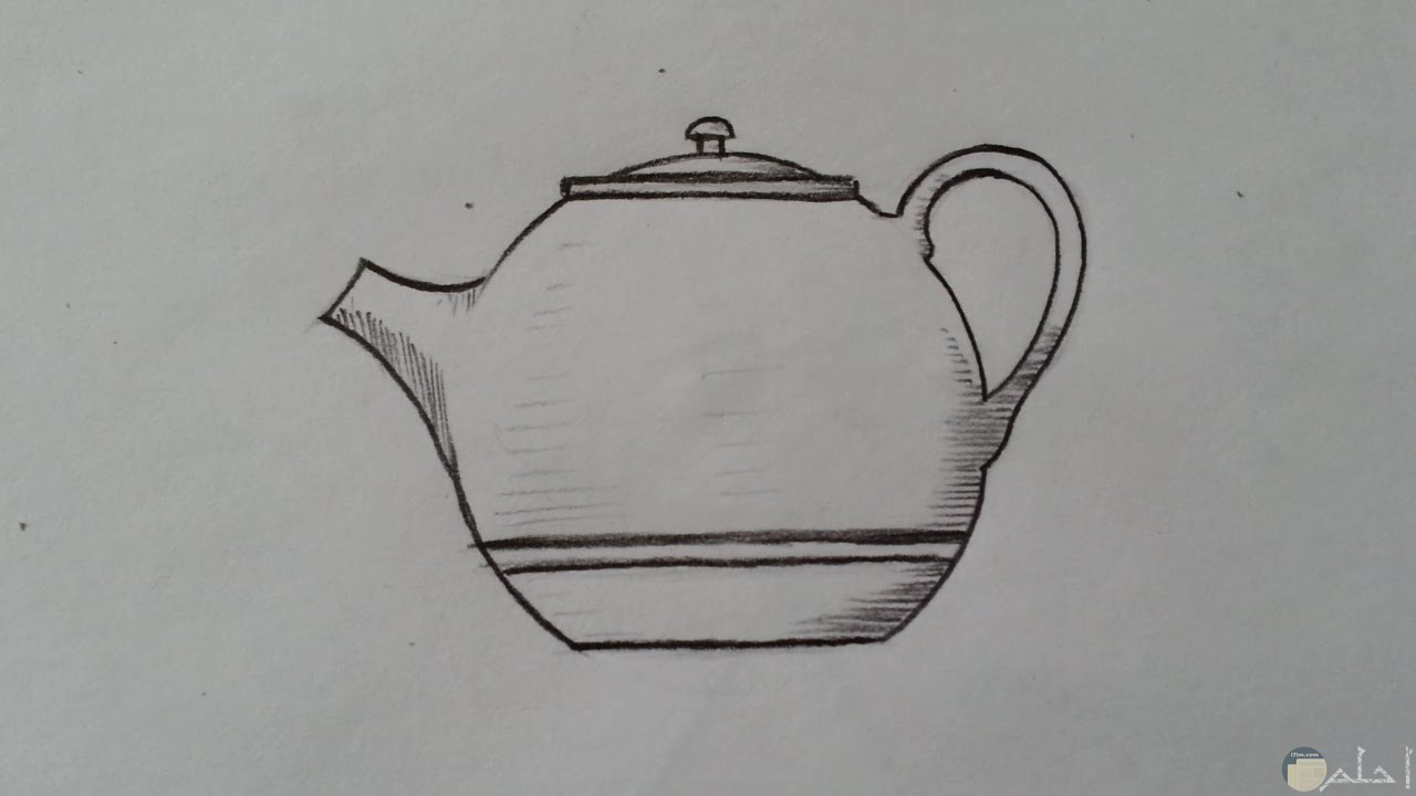 رسم بالرصاص لأبريق شاي بسيط و سهل.