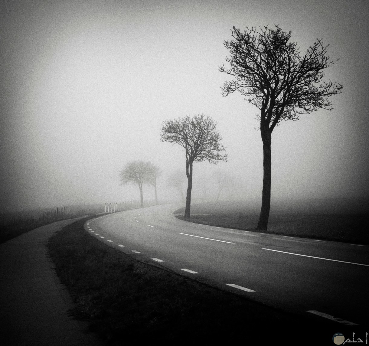 طريق طويل خالي مع رياح شديدة.