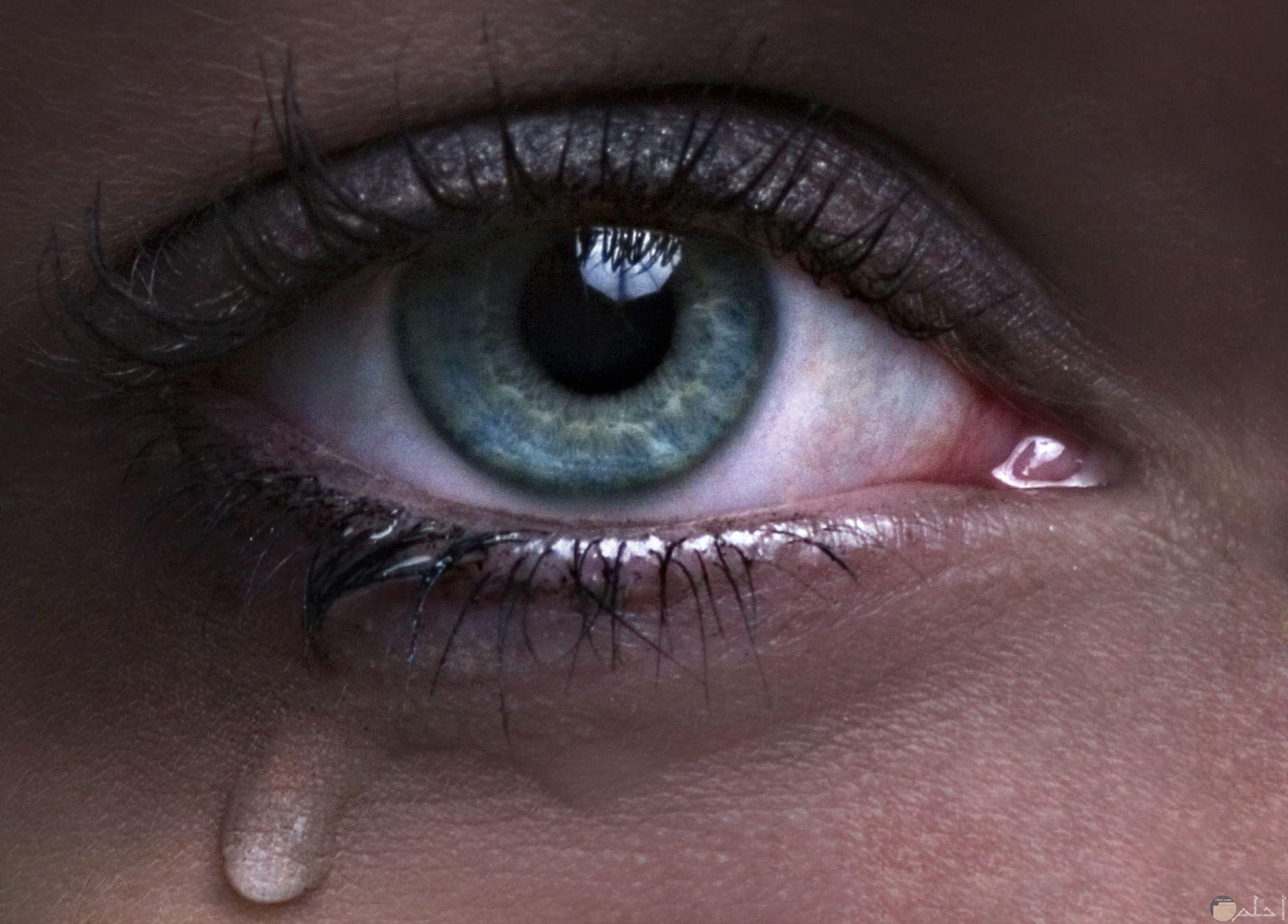 عين تبكي -ملونة و معبرة عن الحزن و الالم.