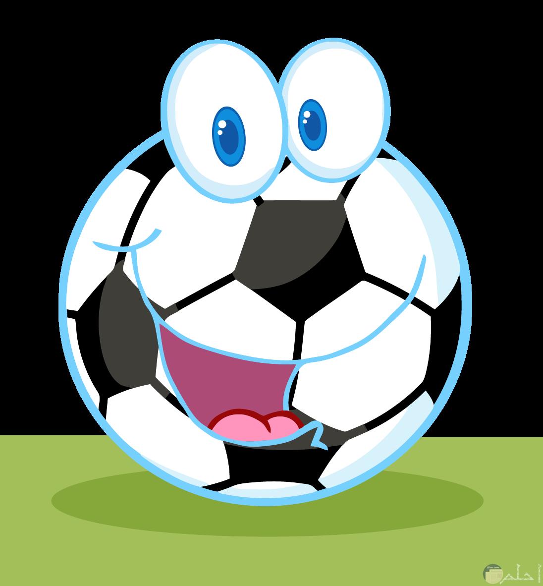 رسمة كرة قدم ملونة ولها أعين و فم ضاحك- أكتب عليها ما تحب من النكت.
