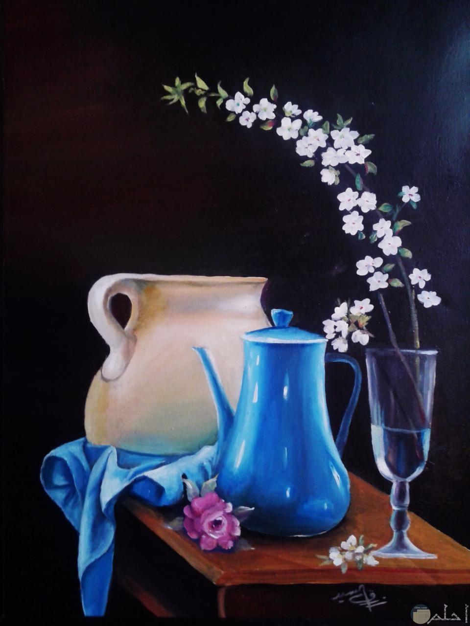 أبريق كأس مرسومة و ملونة بألوان زيت.