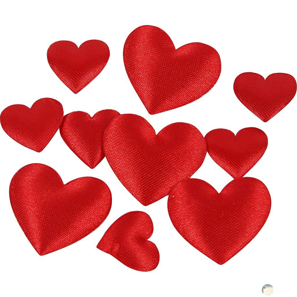 قلوب حمراء بخلفية بيضاء.