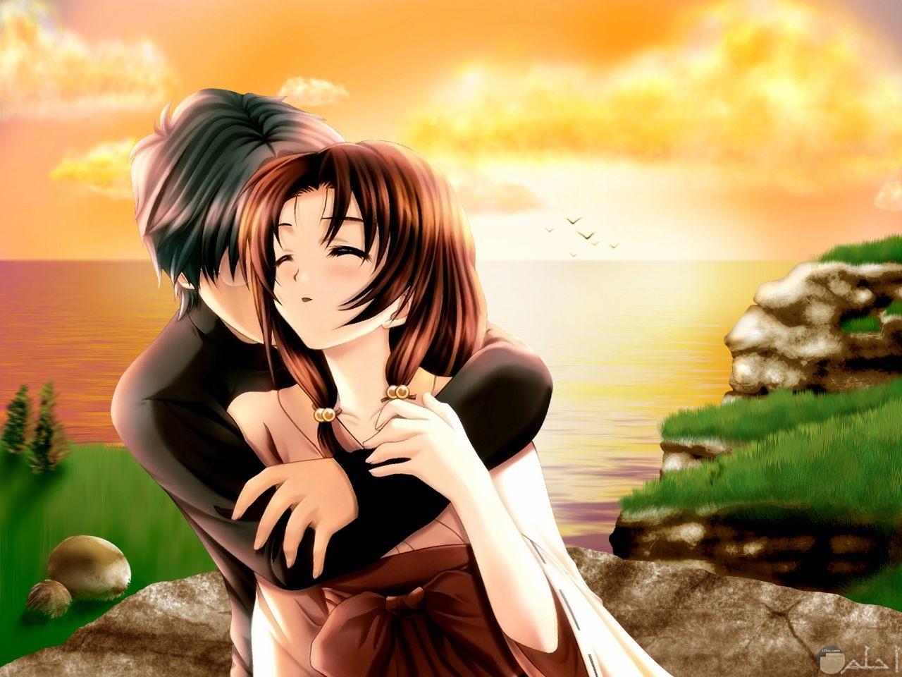 صورة كرتون أنمي رومانسية لولد و بنت مع منظر الغروب.