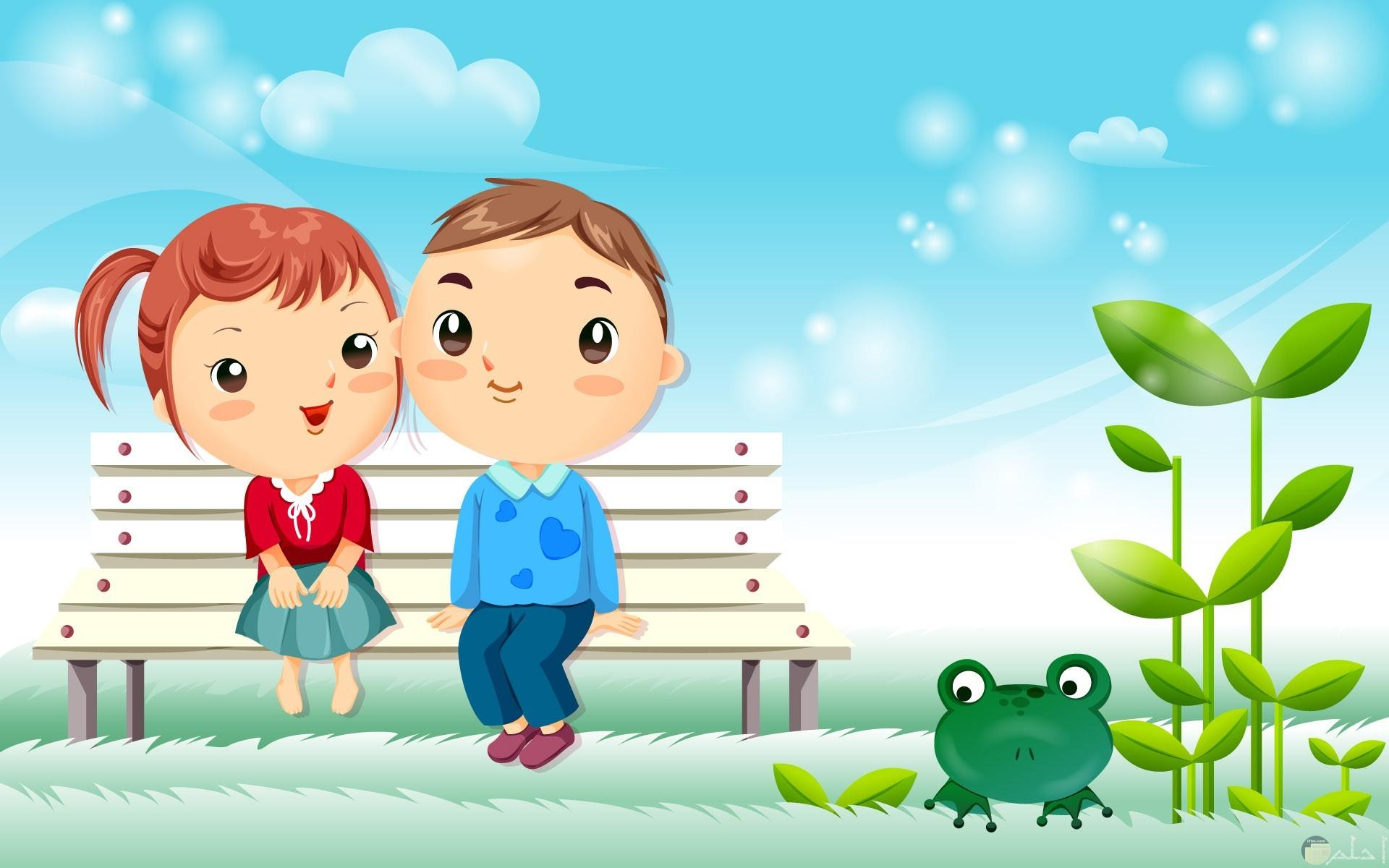 كرتون رومانسي لبنت و ولد أنمي يجلسان بحديقة.