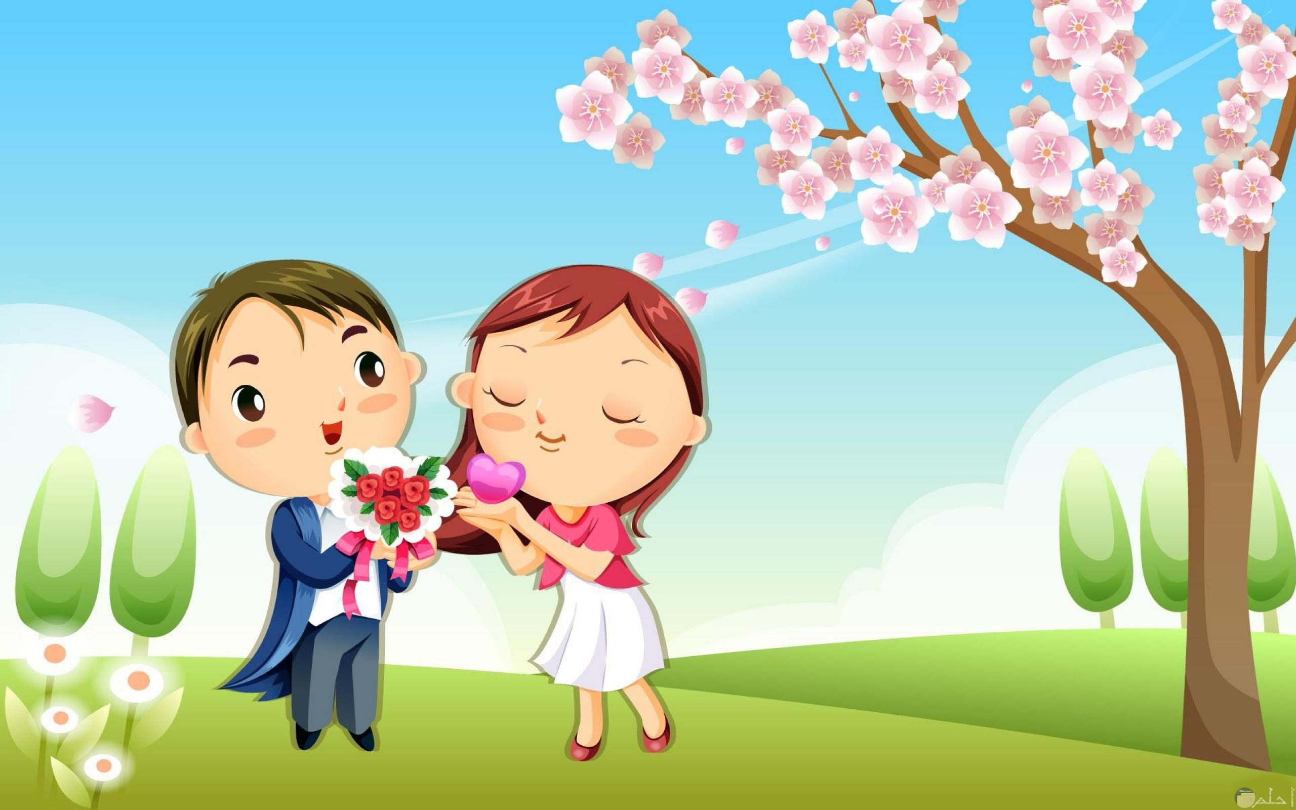 خلفية رومانسية جميلة لرسمة لرجل و فتاة مع بوكيه ورد.