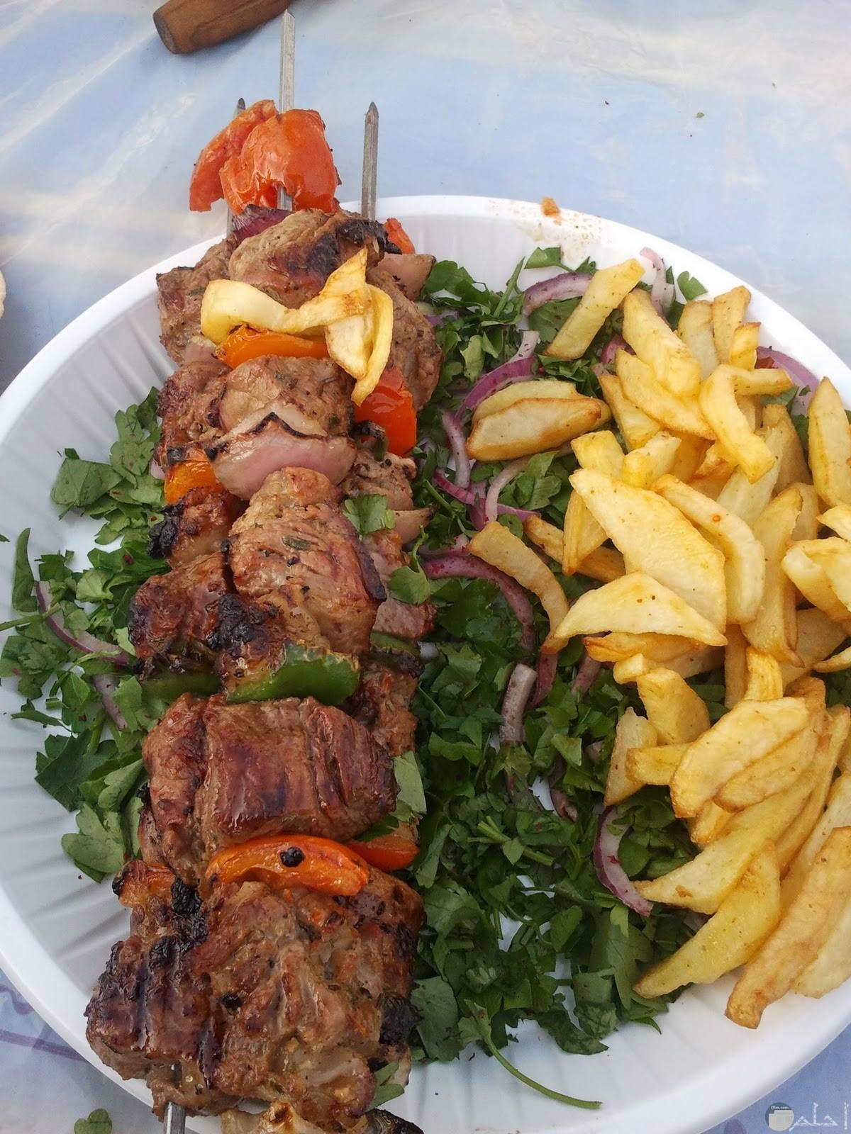 كباب مشوي مع سلطة بطاطس وخضراوات