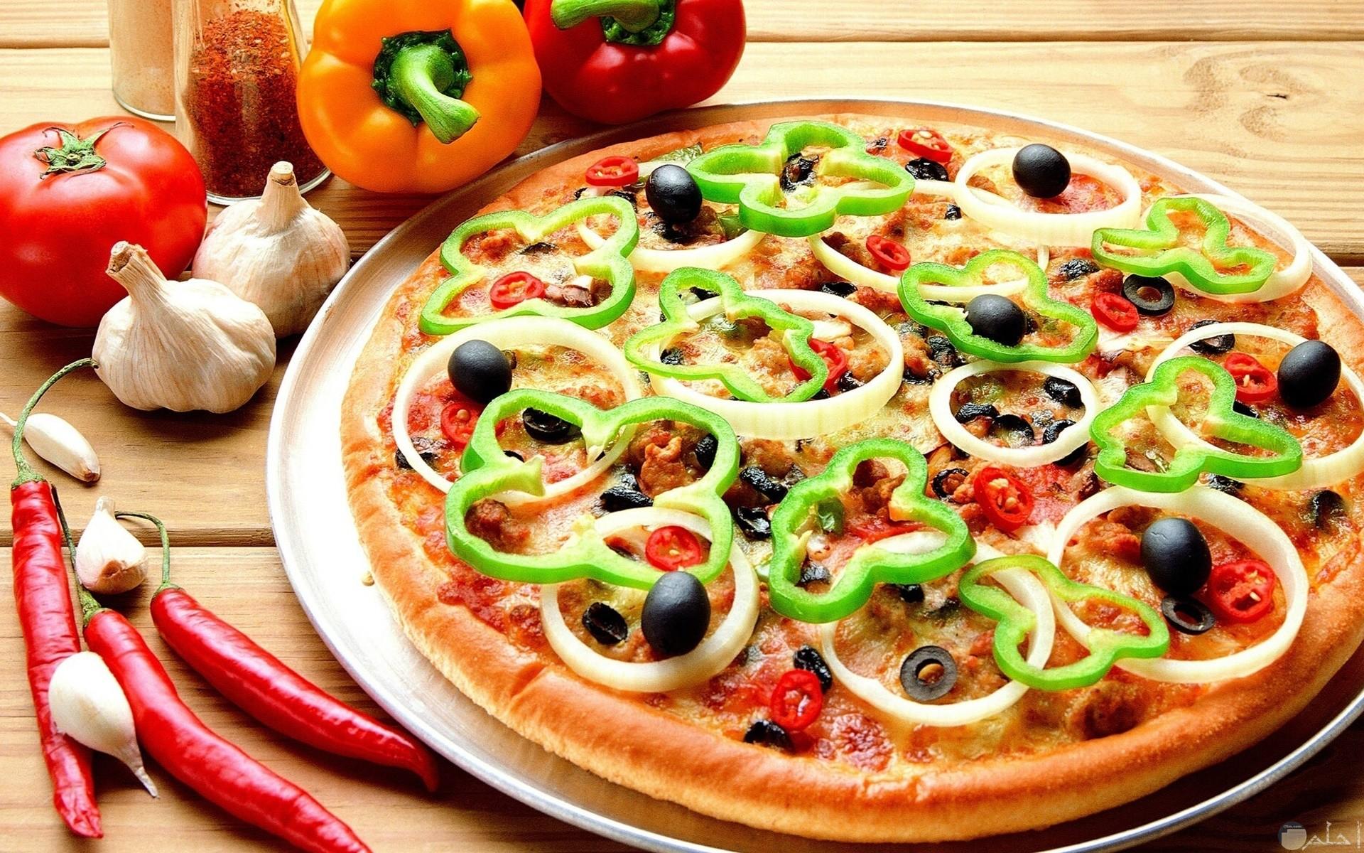 بيتزا بالخضراوات