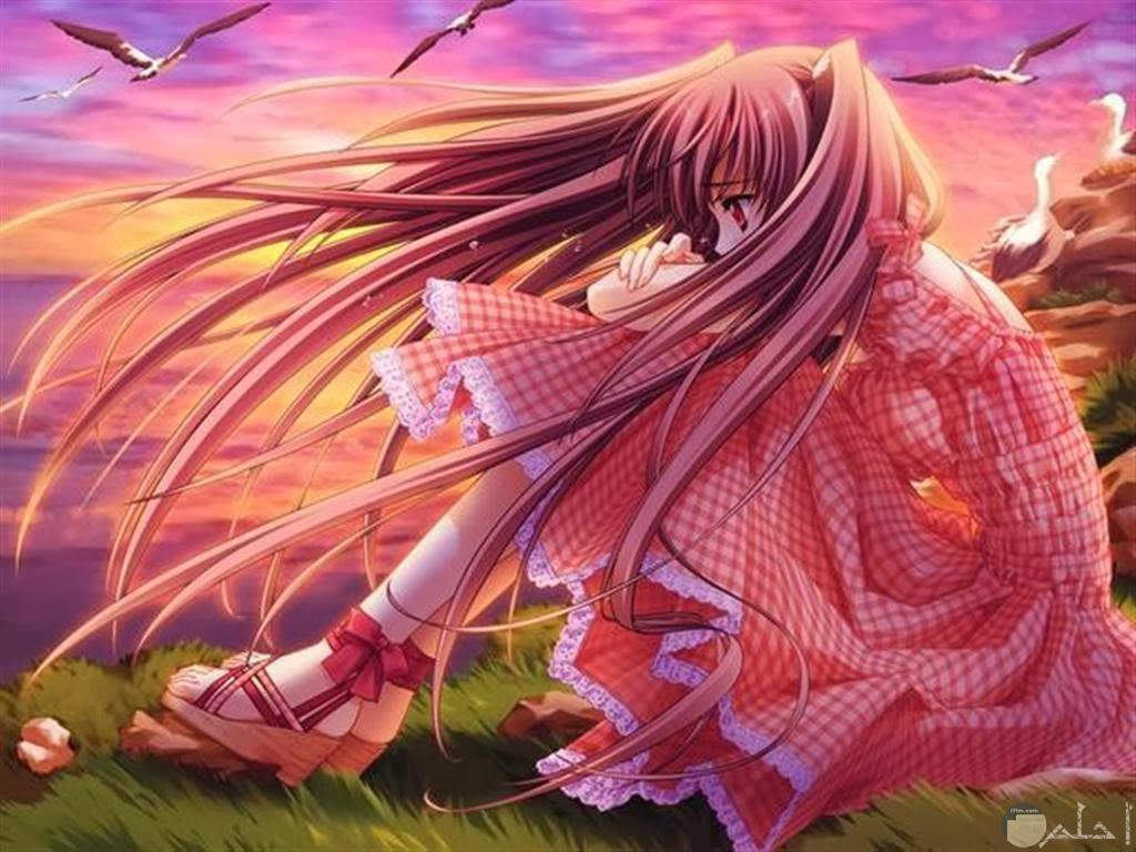 فتاة حزينة و سط الرياح.