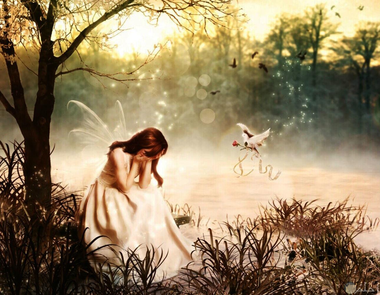 رسمة فتاة انمي حزينة و طائر يعطيها وردة.