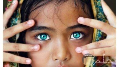 طفلة سمراء بعيون ملونة جميلة.