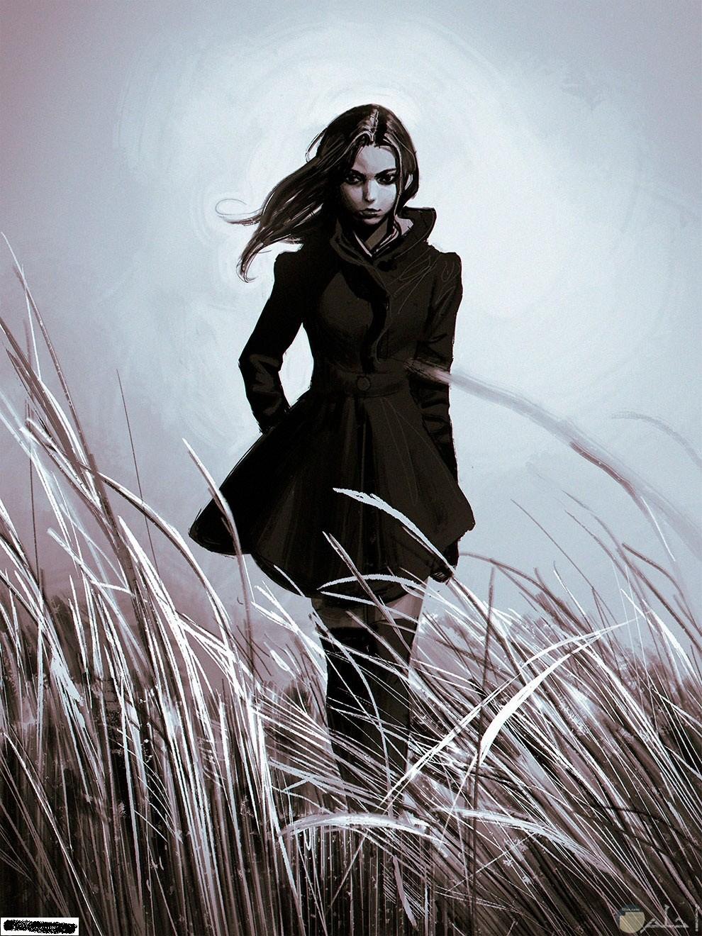 فتاة انمي وسط الحقل و الهواء يحرك الزرع من حولها.