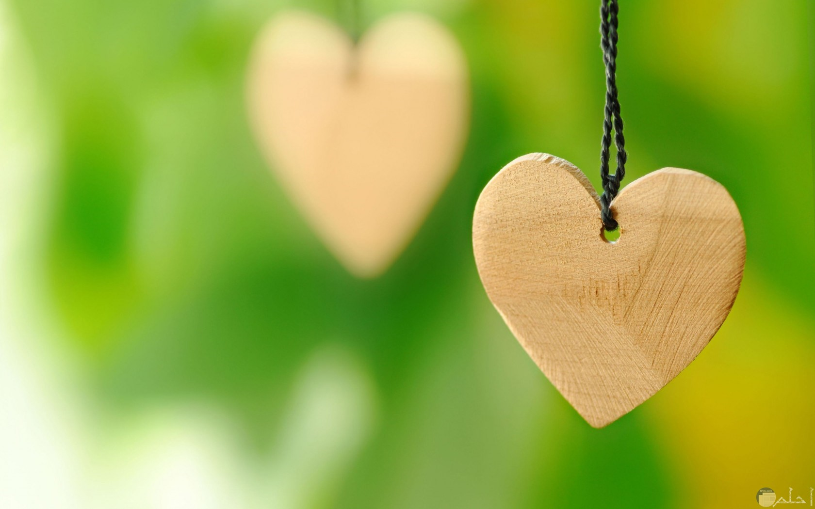 قلب مرسوم بالخشب معلق