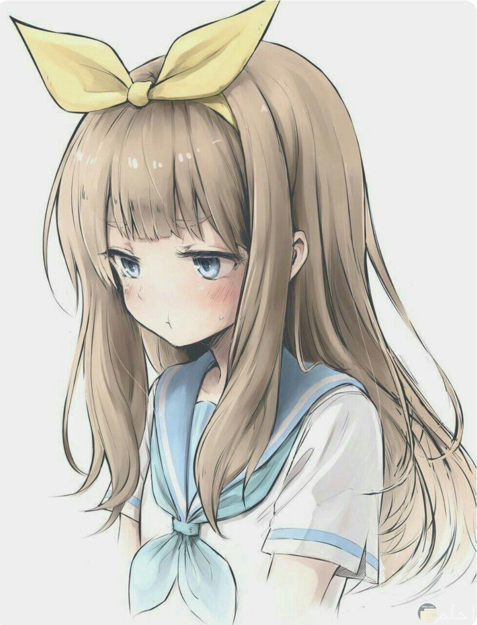 رسمة بنت انمي حزينة و كيوت.