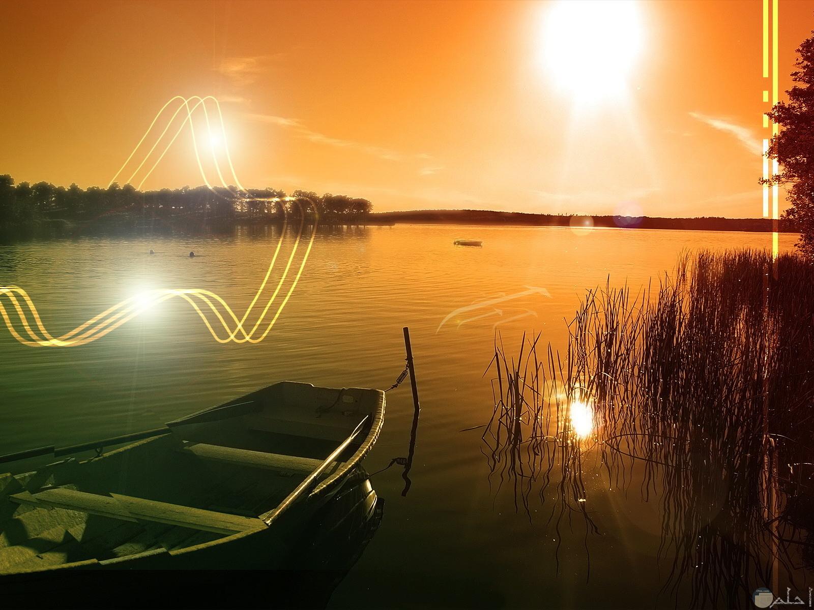 الشمس و جميل المياه معها.