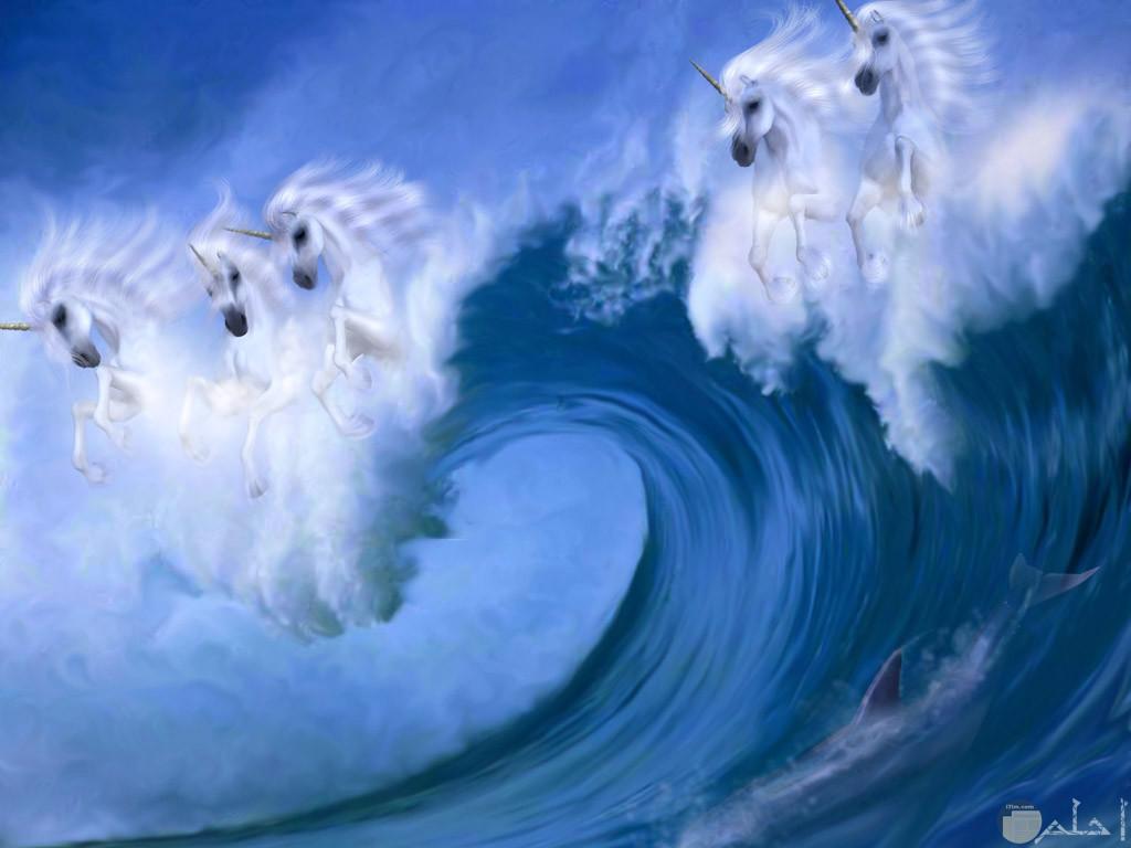 أمواج البحر كمجموعة من الأحصنة البيصاء الجميلة.