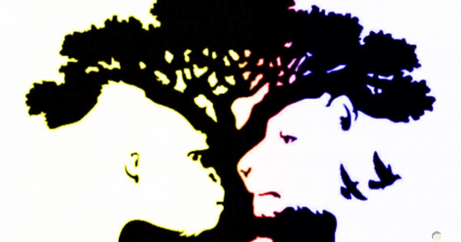 ما أول شئ رأيته_ أسد_ غوريلة _ شجرة.