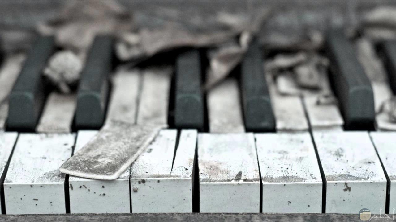 بيانو مكسور ابيض و اسود.