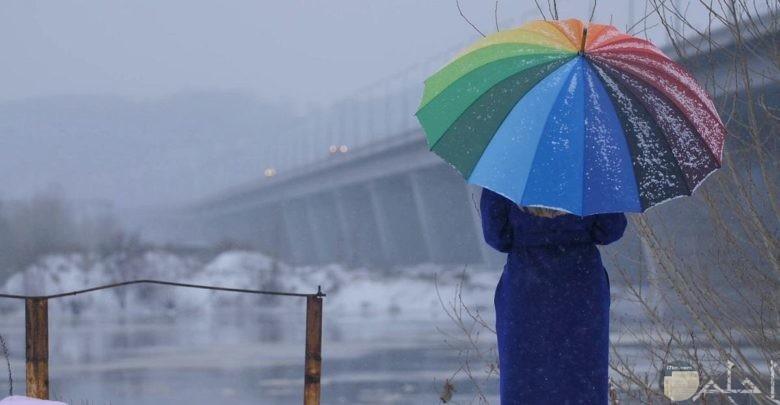 سقوط مطر الشتاء.